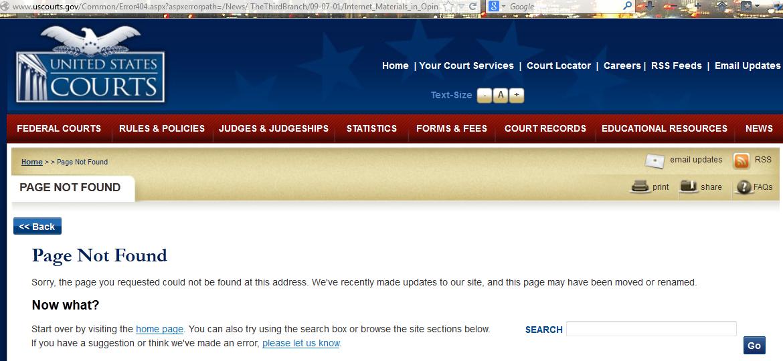 404 Error on U.S. Courts website